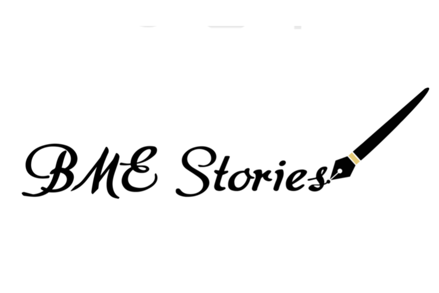 Logo that reads BME Stories and has a calligrpahy pen