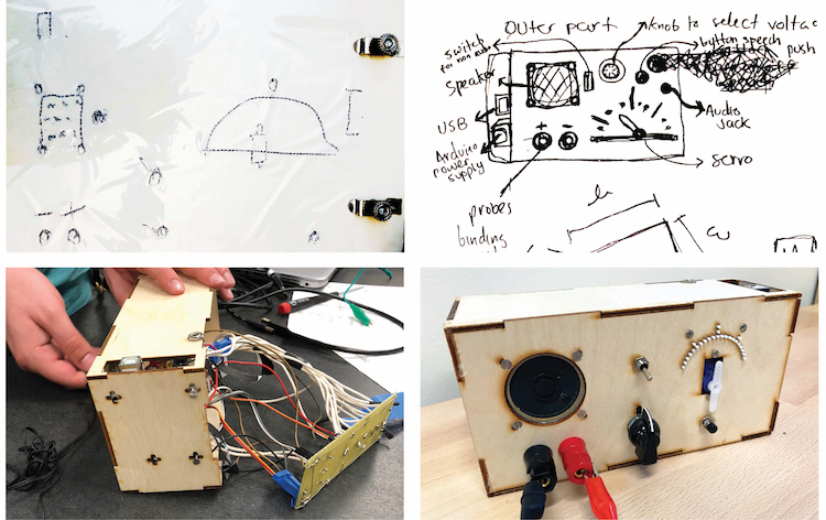 Four photos next to each other: 1) The raised line sketch shows  the spatial layout of the different voltmeter components  including: a knob, speaker, connectors, push button,  toggle switch, and tactile gauge with servo; 2) 2D sketch  on paper identical to the raised line sketch with printed  annotations of what each component is and its function. 3) a hobbyist's  hands are testing a switch on a voltmeter prototype  in progress with the PCB and wires coming out from the  back; 4) front view of the voltmeter prototype. Top row shows a  speaker, a toggle switch, and a 180-degree arc of tactile markings  with a servo in the middle. Bottom row shows binding posts, a selector  knob, and a push button.