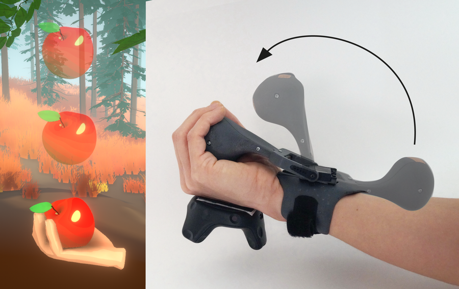 'An image of the wristworn Haptic Pivot device used in Virtual Reality to catch an apple falling from a tree. The device is worn by a user and renders the haptic sensation of an object falling into the users hand.'