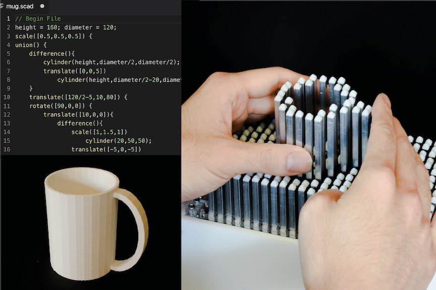 Three images representing the CAD workflow showing  a script for rendering a 3D model of a cup, a cup rendered in a 2.5D shape display, and a cup 3D printed