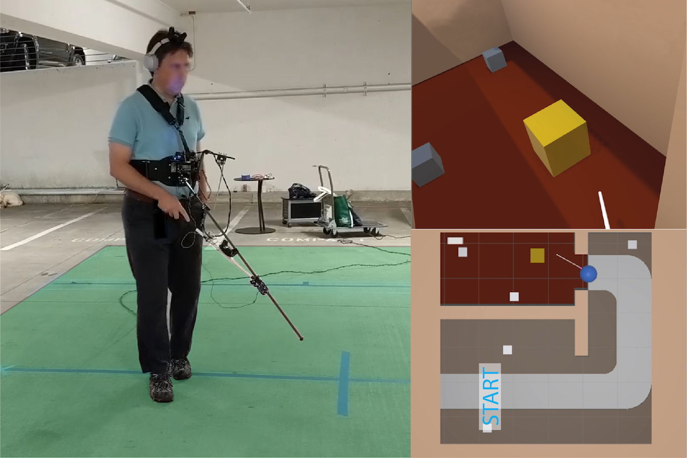 'Three images. The first shows a person wearing the  prototype of a white cane VR controller. The second shows  the first-person view that the person would see if they were  wearing a head-mounted display in VR. The last shows the  overhead view of the map of a virtual environment along  with the position of the user.'